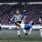 Dennis Tueart scoring with a back kick at the league cup final in 1976