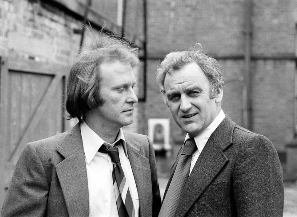 John Thaw and Dennis Waterman filming The Sweeney