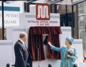 The Queen at St Peters Square Manchester for the grand opening of the Metrolink.