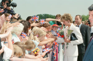 Diana greeting well wishers in Altrincham