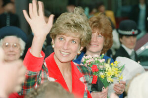 Princess Diana, visiting Manchester, close up of her waving to the croud.