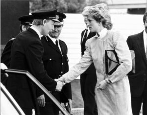 Princess Diana meeting the fire crew who attended the scene of the British Airtours crash