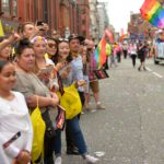 Thousands of people lined the route to watch the Pride Parade