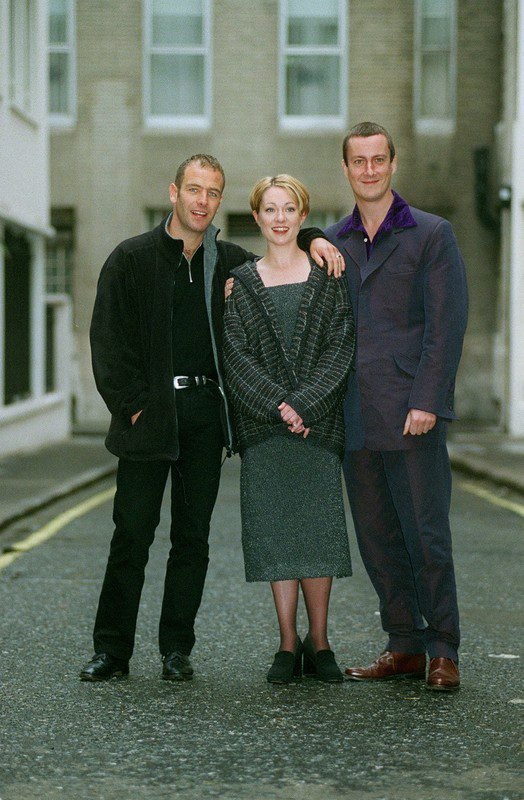 Grafters cast members Robson Green, Emily Joyce and Stephen Tompkinson
