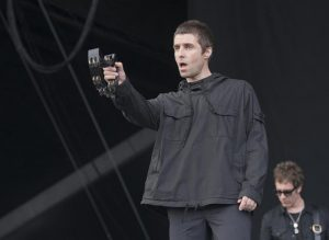 Liam Gallagher performing on stage during the Glastonbury festival 2017.