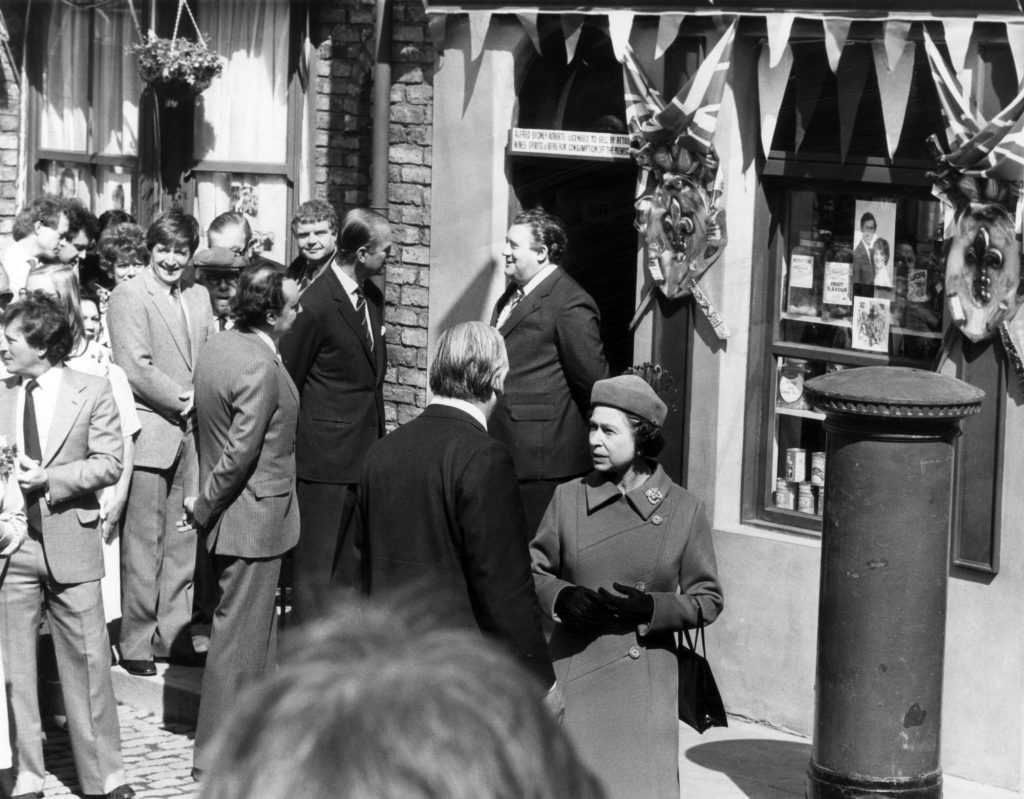 The queen during a visit to the Coronation Street set