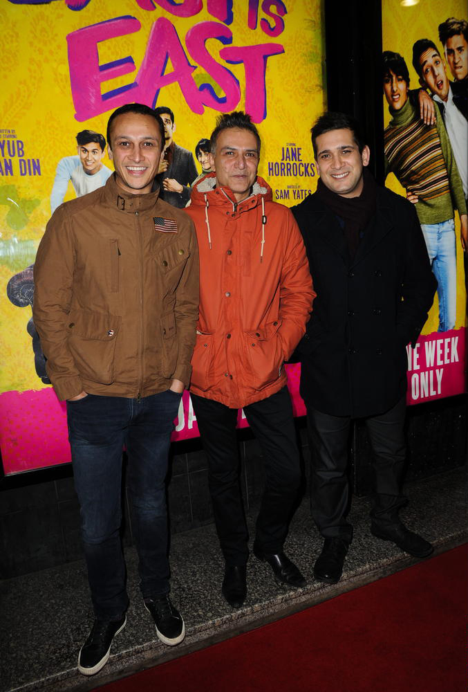 The press night for the play East is East at The Opera House in Manchester. Pictured are Chris Bisson, Ian Aspinall and Jimi Mistry.