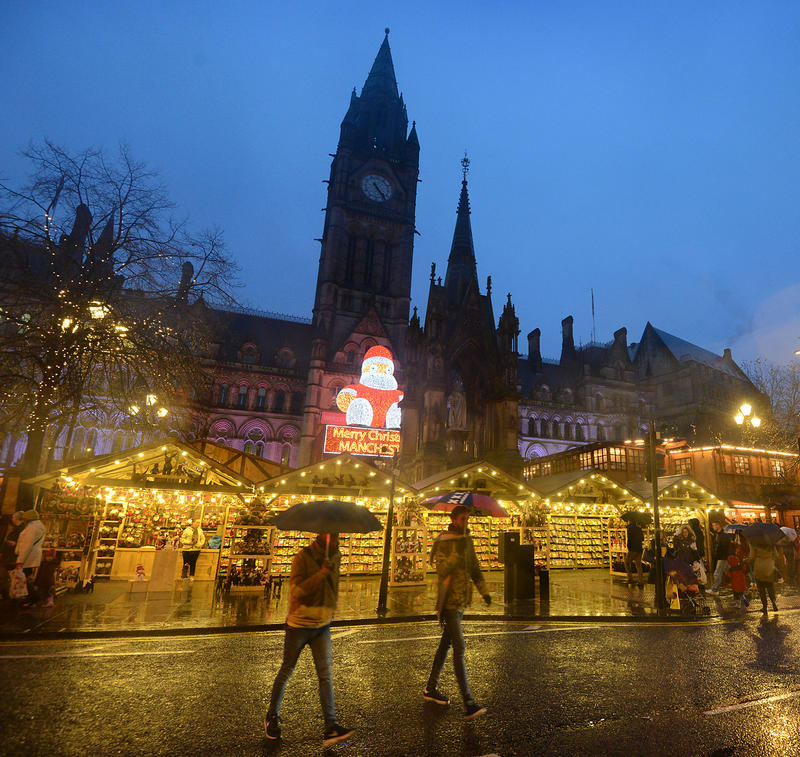 A rainy Manchester evening at the Christmas market stalls