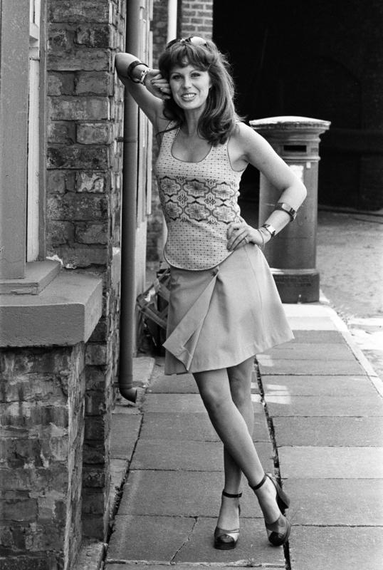 Actress Joanna Lumley pictured on the set of Coronation Street. 5th July 1973.
