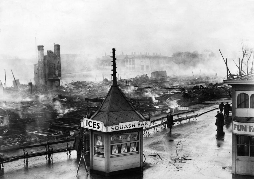 Scene of destruction at Belle Vue, Manchester following the great fire of 1958.