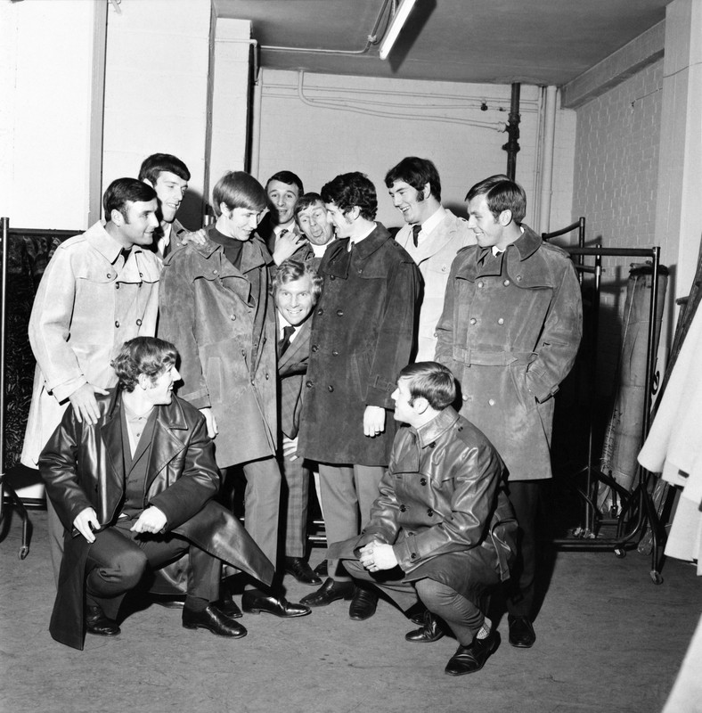 Bobby Moore and the Manchester City players at Moore's Suede leather factory