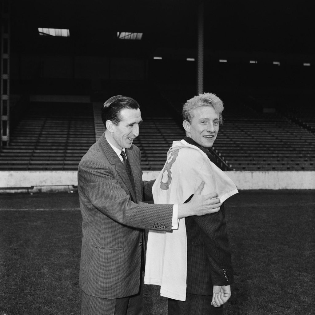 Manchester City new signing Denis Law with Ken Barnes