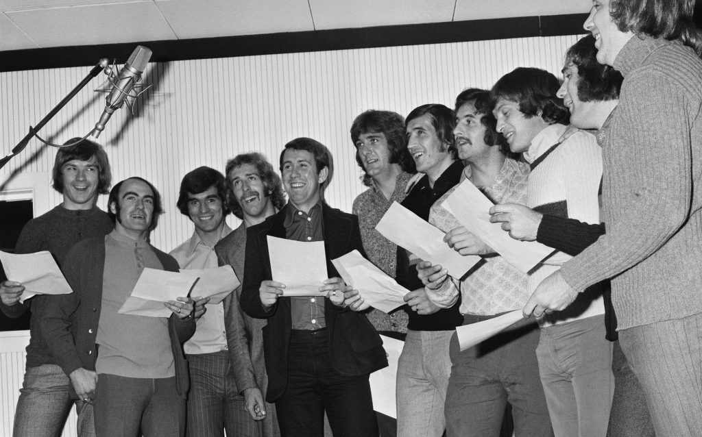 Everton players recording at Strawberry Studios Manchester