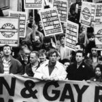 Gay rights march through Manchester lead by Ian McKellen