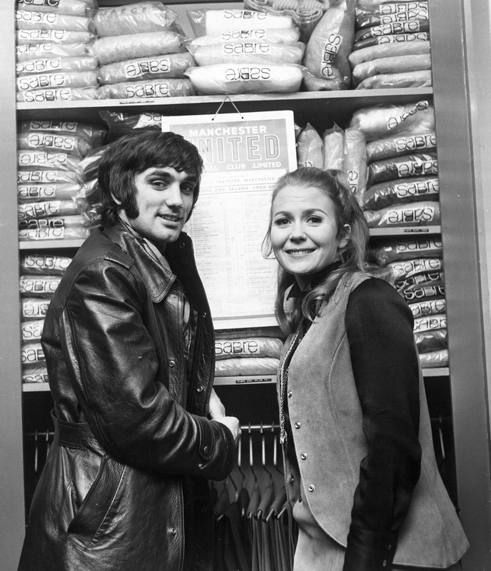 Footballer George Best meets Actress Juliet Mills in his boutique in Manchester