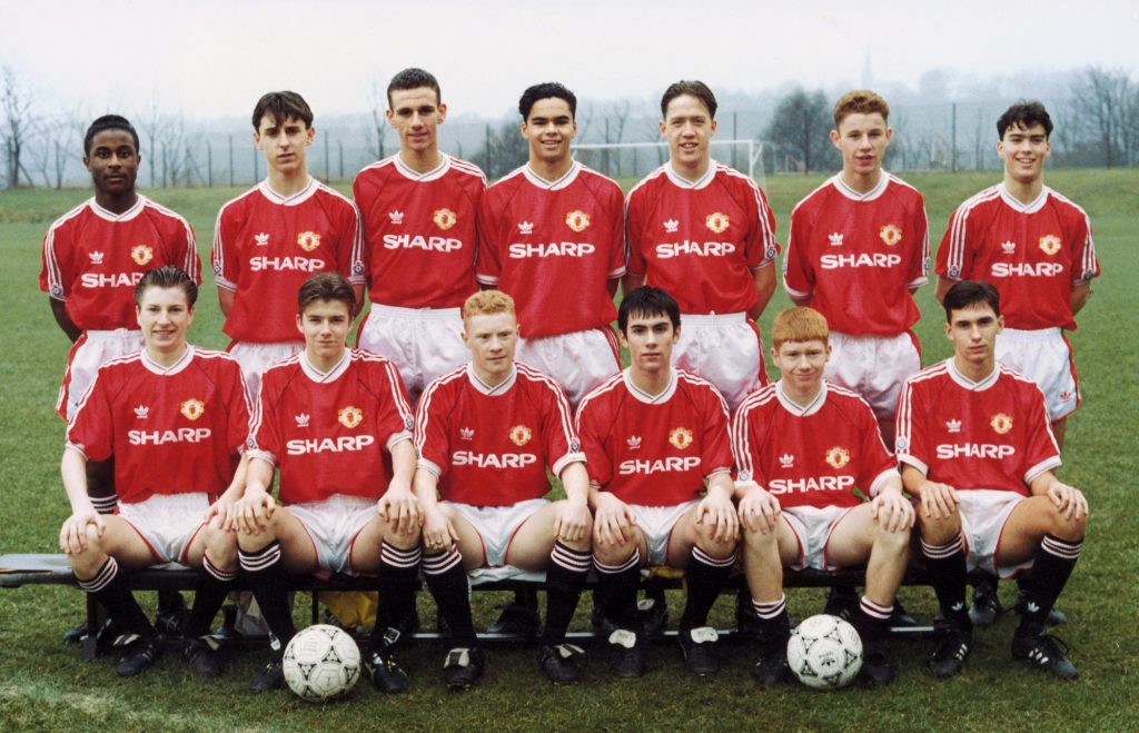 Manchester United youth team pose for a group photograph.