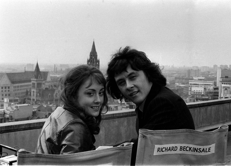 "Richard Beckinsale and Paula Wilcox during a shoot for ""The Lovers"""