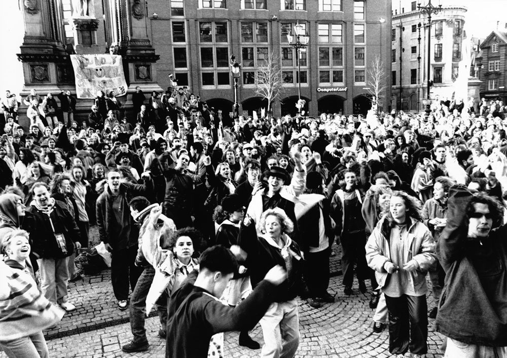Hundreds protest against police harassment at an Acid House party in Albert Square, February 1990