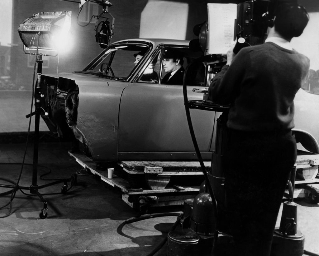 The cut-away car used for filming driving scenes in the BBC crime series Z Cars, December 1962