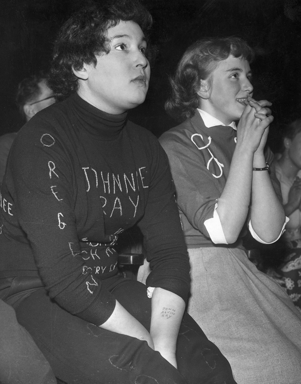 Johnnie Rae fans at Belle Vue, January 1950