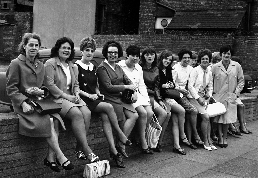Some of the 195 women sewing machinists from Halewood who walked out over pay, June 1968