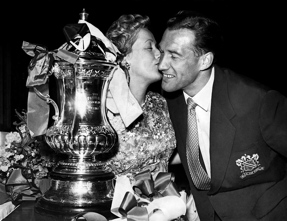 Bolton centre-forward Nat Lofthouse and wife Alma with the FA Cup, May 1958