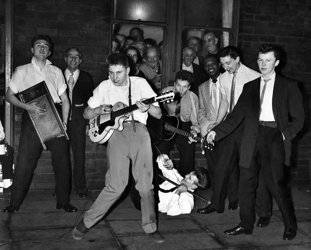 Gorton Skiffle Group go through their numbers in Manchester, November 1957