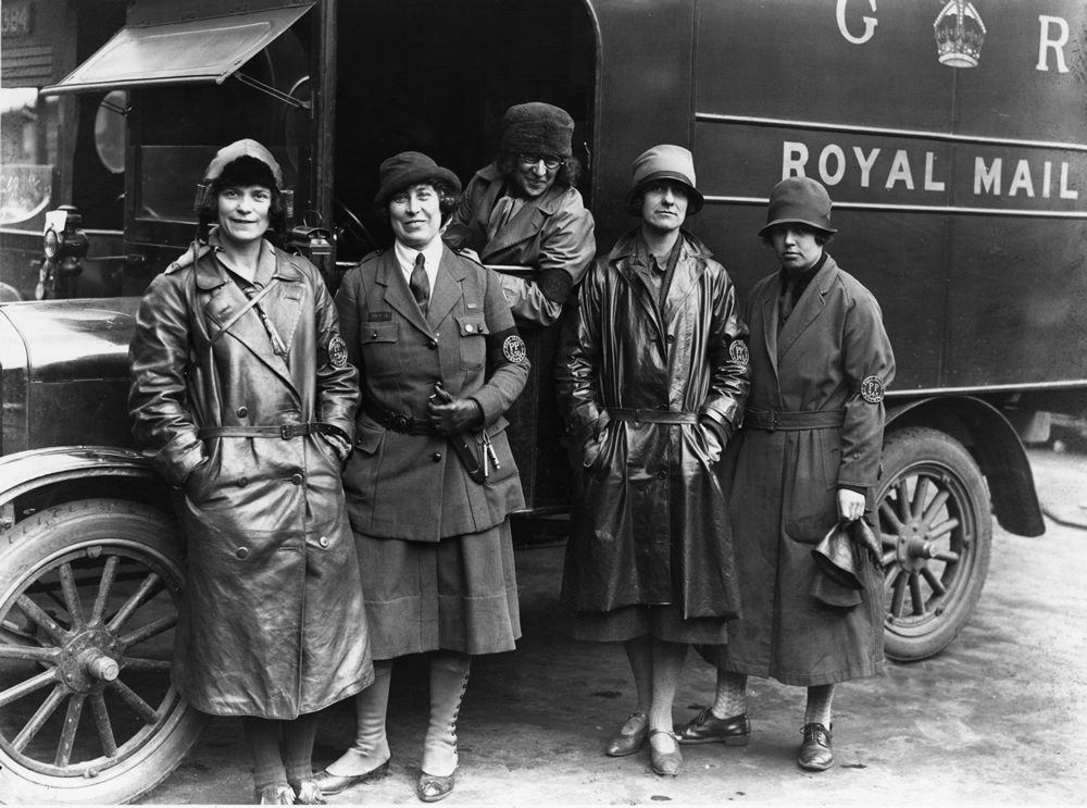 Women volunteers help man Royal Mail vans in the General Strike, May 1926