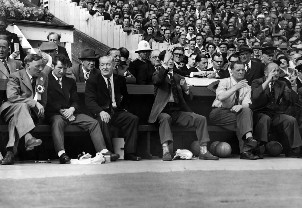 Tense moments on the Bolton bench at the 1958 FA Cup Final