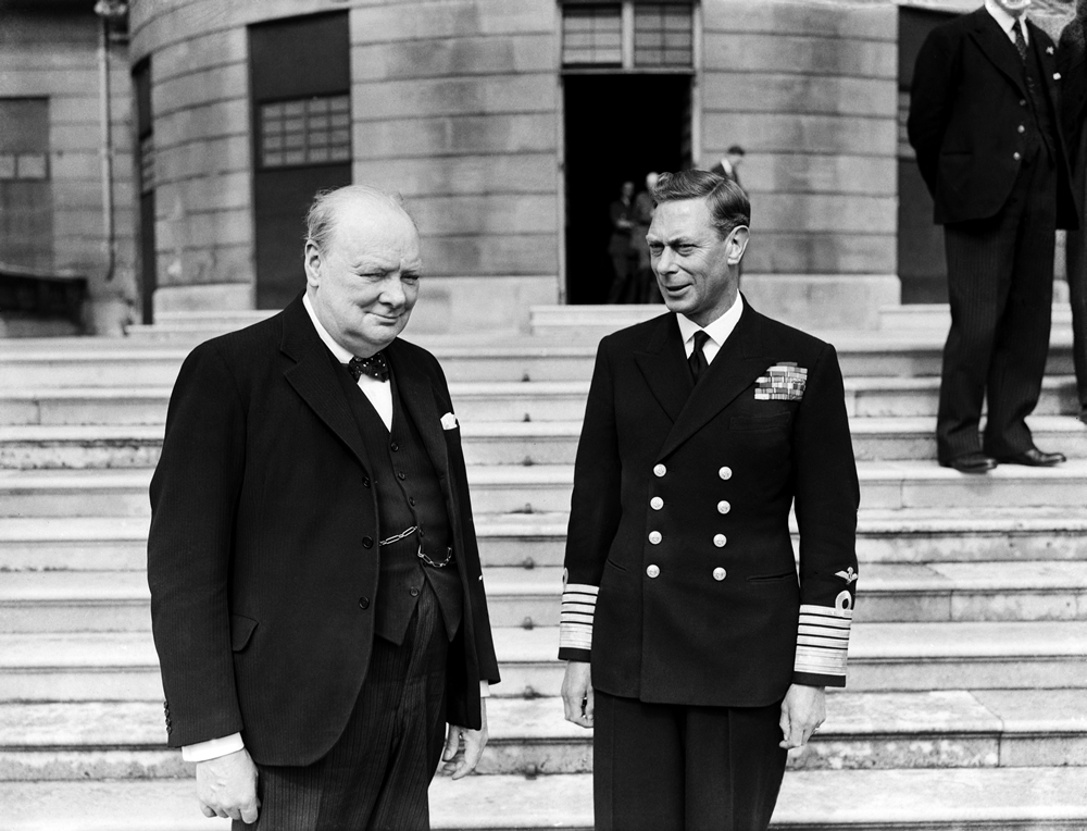 Prime Minister Winston Churchill and King George VI at Buckingham Palace