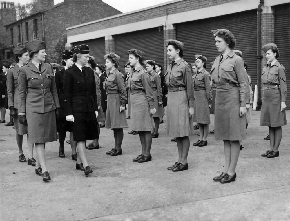 Manchester members of the Girls Training Corps rehearse for a national parade