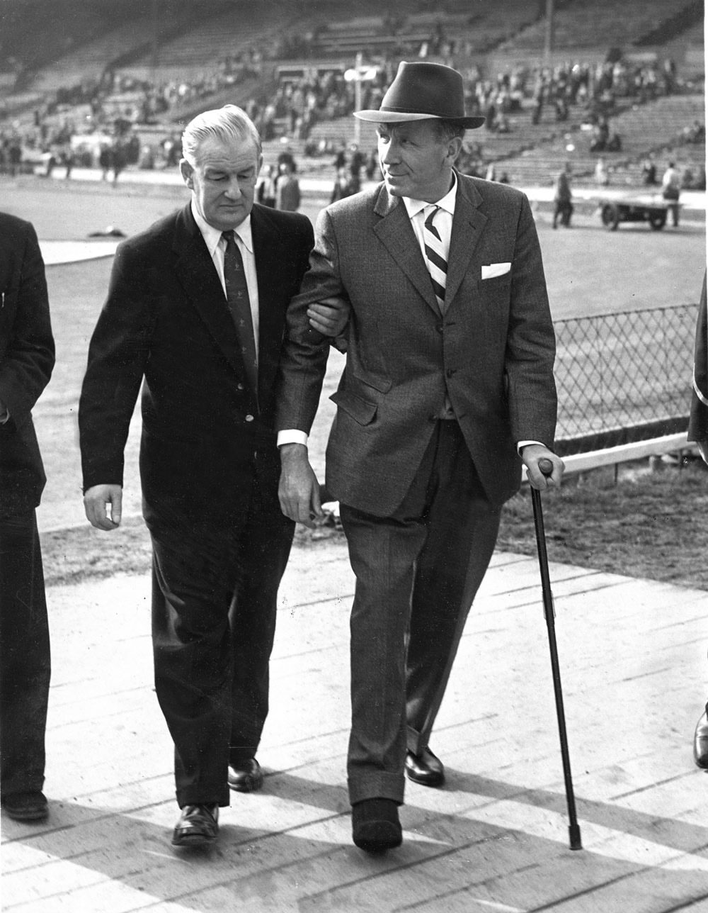 An injured Matt Busby returns to Wembley after the Munich air disaster, May 1958