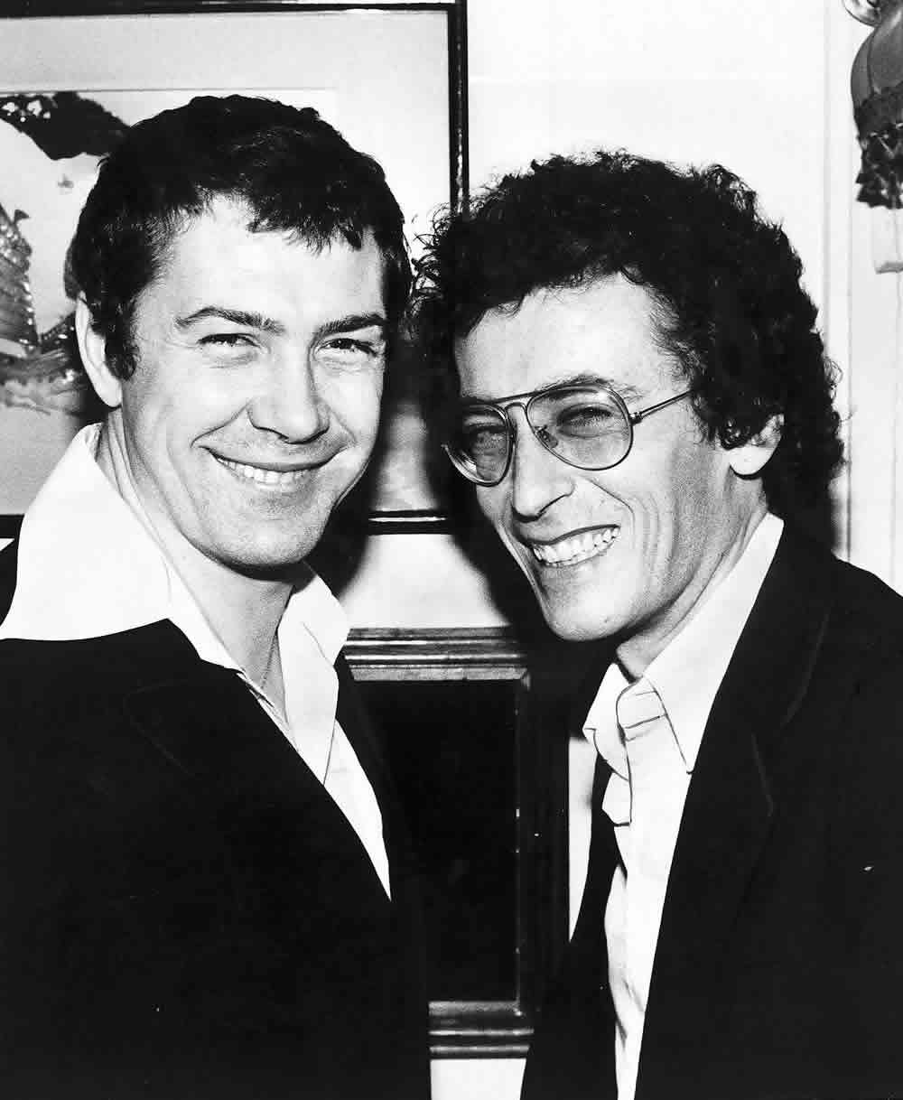 Salford actor Robert Powell, right, with Lewis Collins, February 1981