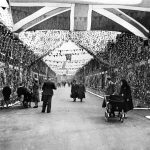 Pinnington Street in Gorton North with its own paper chain curtain, June 1953