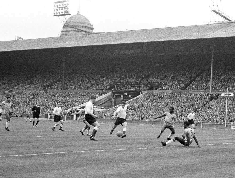 United's Tommy Taylor scores for England against Brazil in a 4-2 friendly win at Wembley, May 1956