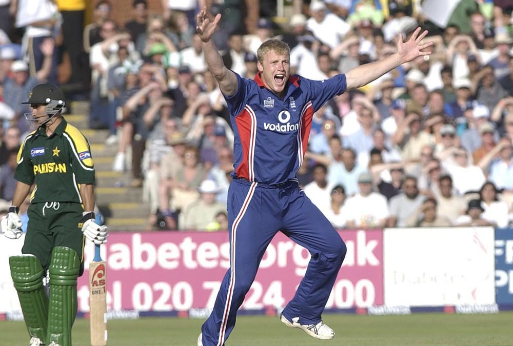 England's Andrew Flintoff appeals in vain against Pakistan at Old Trafford, June 2003