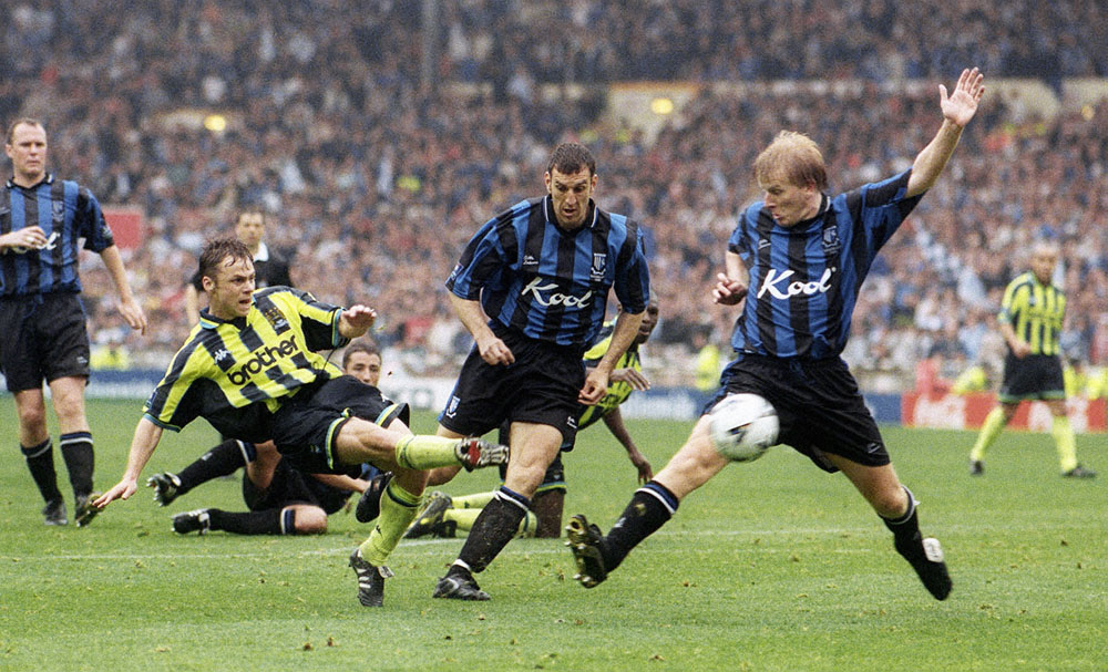 Paul Dickov scores the crucial equaliser against Gillingham at Wembley, May 1999