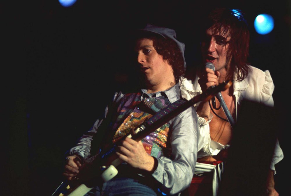 Rod Stewart on stage at the Kings Hall, December 1976