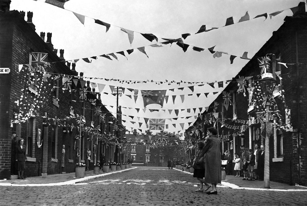 Crowns topped lamp posts to celebrate the coronation in Manchester, June 1953