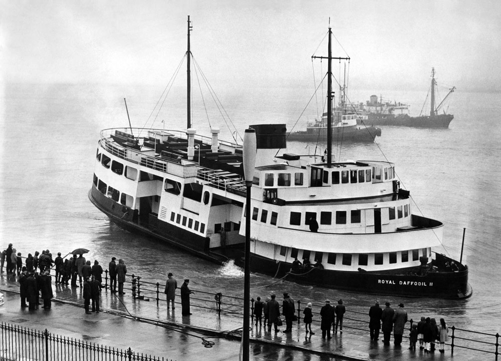 Grounded! The Royal Daffodil II Mersey ferry is beached at Wallasey after a collision, June 1968
