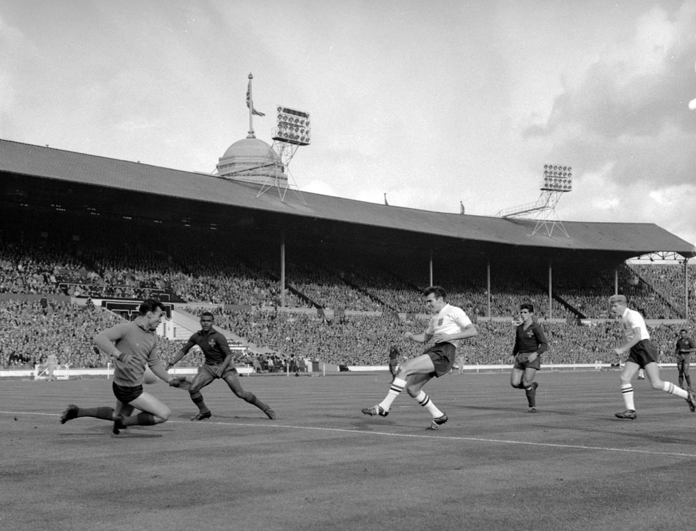 United forward John Connelly scores England's first in the 2-0 World Cup qualifier win at Wembley, October 1961