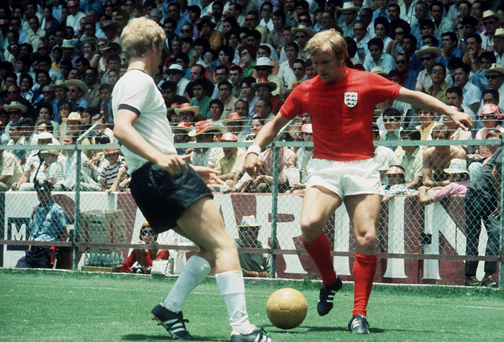 City's Francis Lee on the ball in the 3-2 quarter final defeat to West Germany in Mexico, June 1970