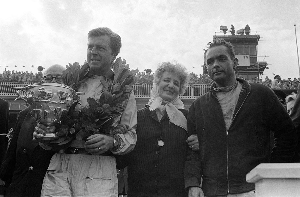 German driver Taffy von Trips on the podium with Ferrari team-mate and future world champion Phil Hill