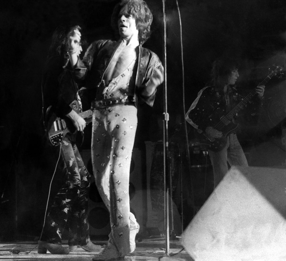 Rolling Stones' lead singer Mick Jagger at the Kings Hall, September 1973