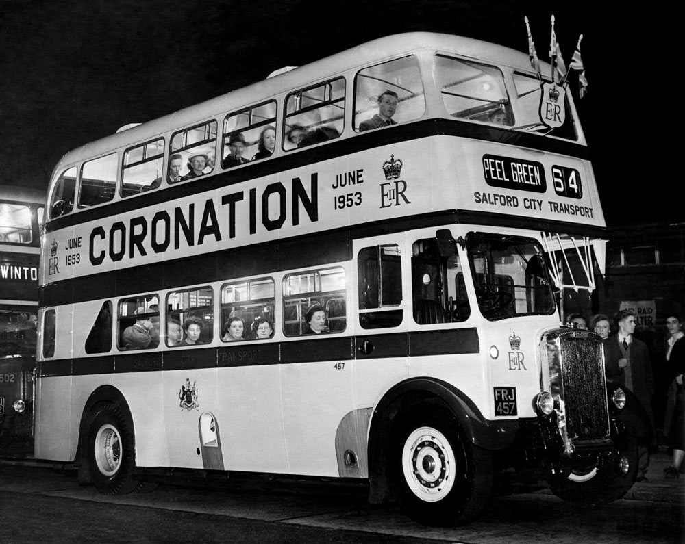 Salford City Transport's brightly painted coronation bus, May 1953
