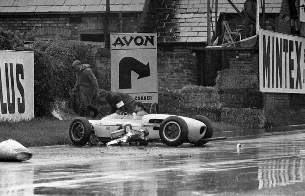 Henry Taylor's Lotus-Climax which crashed on the fifth lap of the British Grand Prix