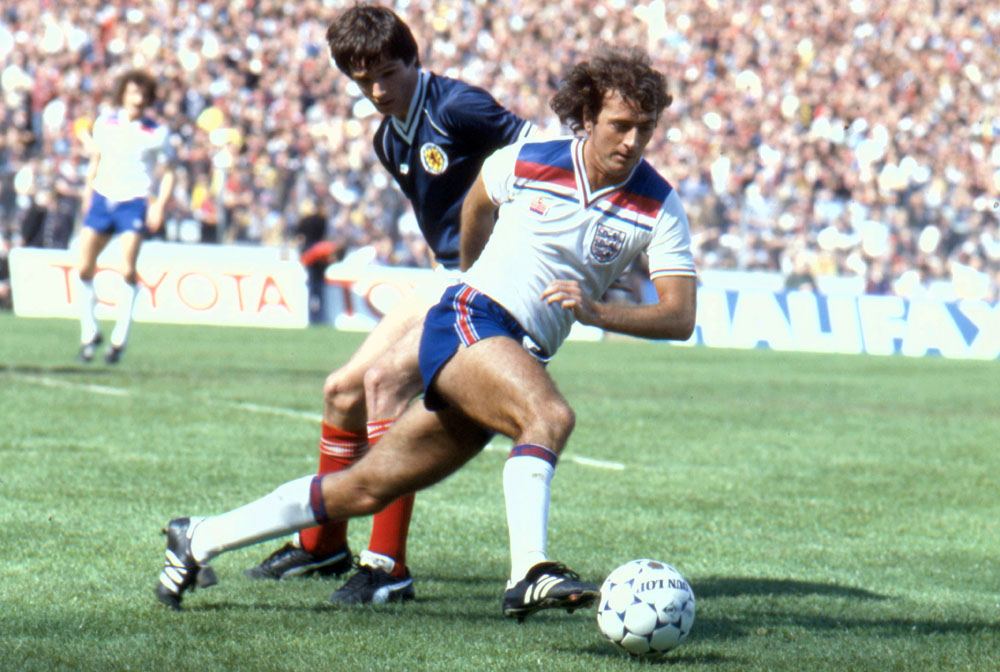 City forward Trevor Francis beats Alan Hansen in England's 1-0 victory over Scotland in the Centenary International, May 1982