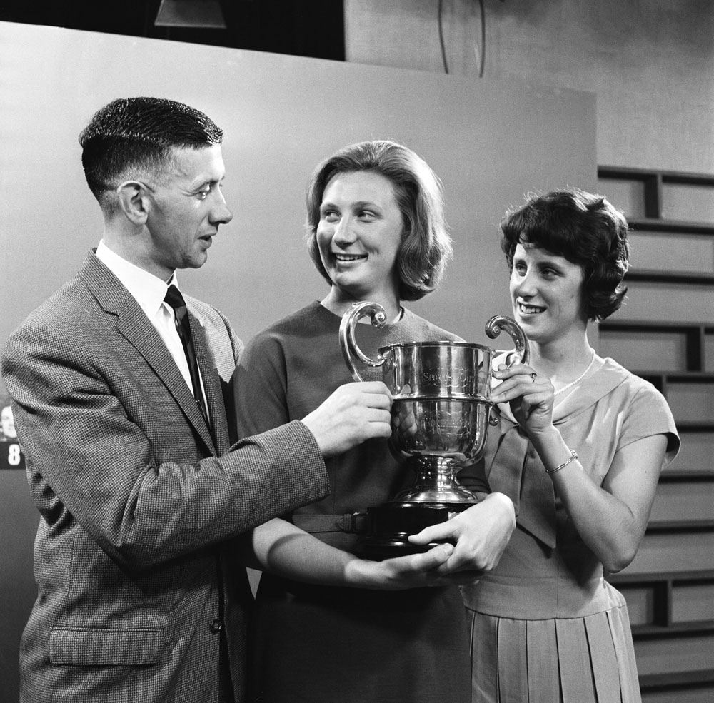 Olympic swimmer Anita Lonsbrough, centre, wins the Northern Sporting Personality of the Year Cup alongside Burnley captain Jimmy Adamson and sprinter Dorothy Hyman, December 1962
