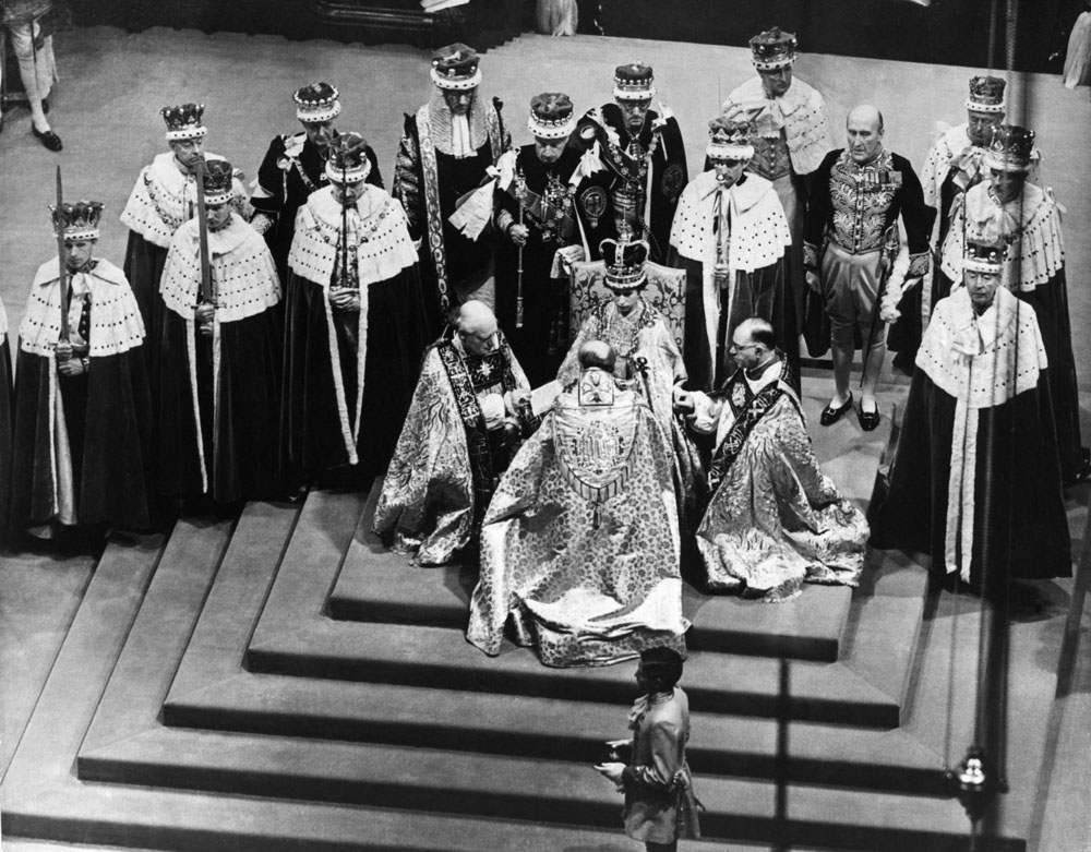 Bishops pay homage to their new monarch in Westminster Abbey, June 1953