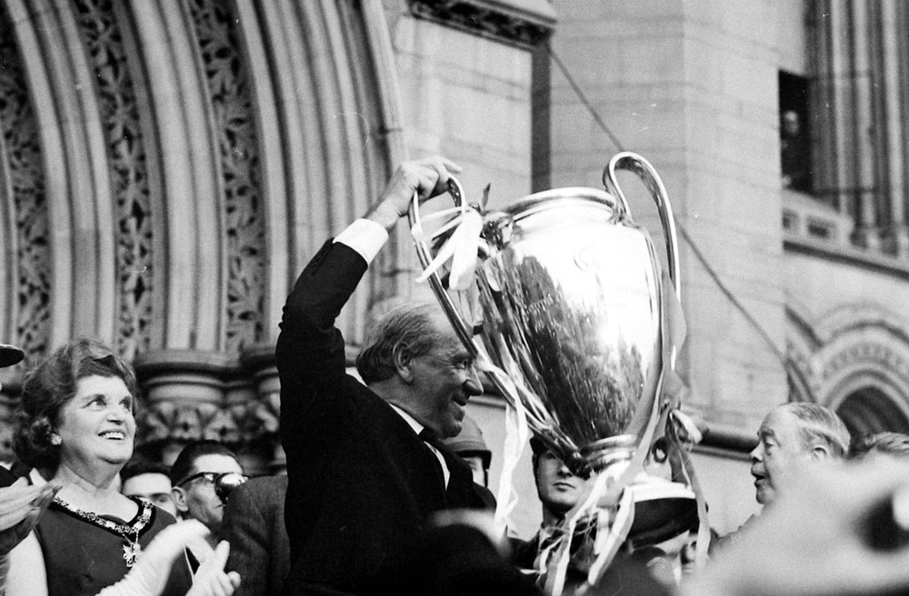 Matt Busby and the European Cup outside Manchester Town Hall, June 1968